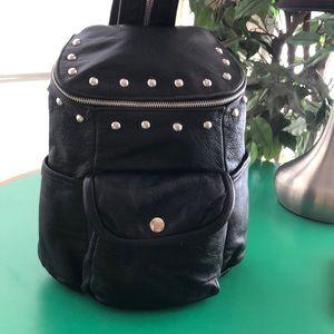 Rebel Spirit Black Leather Studded Backpack
